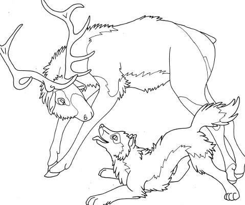 Elk Wolf Coloring Page For Adults - Root Inspirations